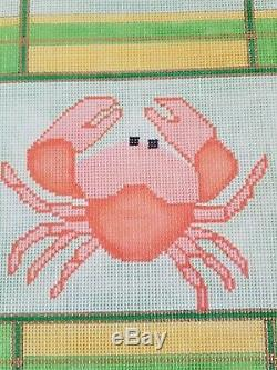 14 ct DESIGNS BY KAREN Hand Painted Needlepoint Canvas CRAB ON GREEN + ALL SILKS