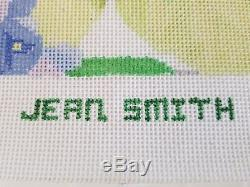 14 ct JEAN SMITH Hand Painted Needlepoint Canvas SPRING FLORAL + FIBERS / SILKS