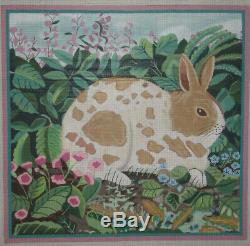 15 Square Handpainted Needlepoint Canvas By Miriam Andrade Bunny Rabbit HP Np