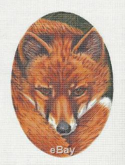 2019 Lg. Fox Face Oval handpainted Needlepoint Canvas by LIZ from Susan Roberts