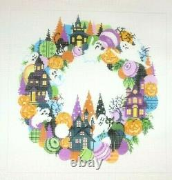 A Stitch in Time Halloween Wreath Handpainted Needlepoint Canvas 18 count