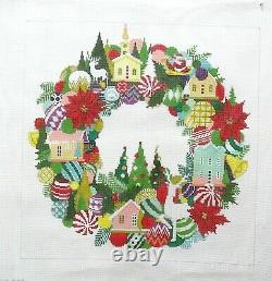 A Stitch in Time Large Christmas Wreath Handpainted Needlepoint Canvas