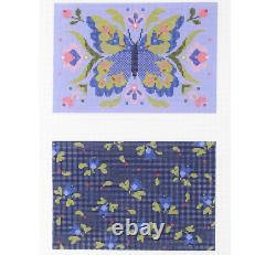 Abigail Cecile Hand painted Needlepoint canvas Vanessa Clutch Butterfly 2 sides