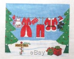 Alice Peterson Santas Clothes Line Halloween Handpainted Needlepoint Canvas
