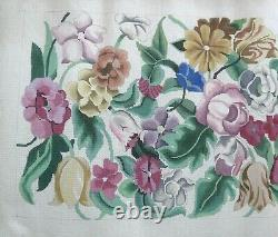 Associated Talents Large Floral Flower Rug Handpainted Needlepoint Canvas
