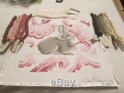 BUNNY With PINK BACKGROUND-EDIE AND GINGER-HANDPAINTED NEEDLEPOINT CANVAS-THREADS