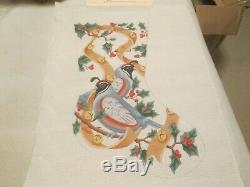 Birds/holly/berries Christmas Stocking-handpainted Needlepoint Canvas