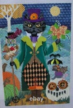 Brenda Stofft Steampunk Cat Handpainted Halloween Needlepoint Canvas Completed