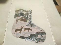 Cabin In The Woods Xmas Stocking-liz-handpainted Needlepoint Canvas