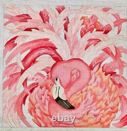 Canvasworks Hand painted Needlepoint canvas fancy Flamingo 18ct 15x15