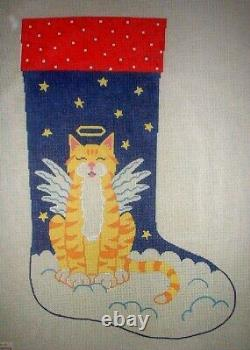 Cat Angel by Cecelia Christmas Stocking Hand Painted Needlepoint Canvas GJ