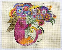 Cat Angel with Bouquet handpainted Needlepoint Canvas by Laurel Burch from Danji