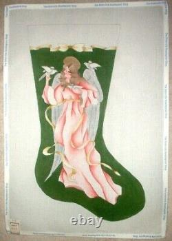 Chic Pink Angel with Doves Xmas Stocking HP Hand Painted Needlepoint Canvas GJ
