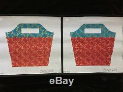 Clara Wells 2 Hand-painted Needlepoint Canvases Red Blue & Gold Bucket Bag