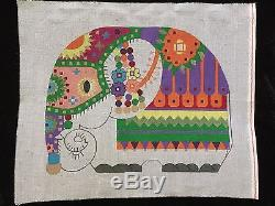 Dede's Needleworks Hand-painted Needlepoint Canvas Bright & Colorful Elephant