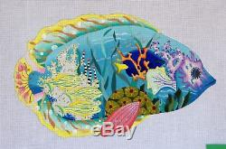 Dede's Needleworks Tropical Fish Hand Painted Needlepoint Canvas 18 ct