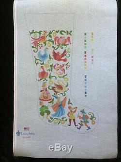 Deux Amis Hand-painted Needlepoint Canvas Colorful Stocking/12 Days of Christmas