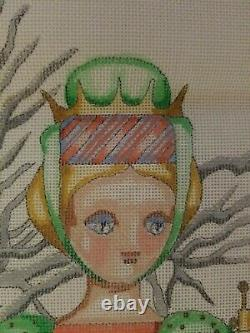 EDIE and GINGER Hand Painted Needlepoint Canvas 20 Christmas Stocking #CJ 154