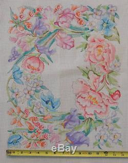 Edie & Ginger Hand Painted NeedlePoint Canvas Iris & Pansys Floral Design V151