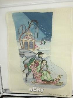 Edie Ginger Needlepoint Stocking Canvas PARTIAL STARTED Sleigh Hand Painted