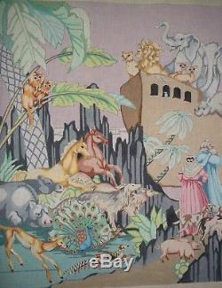 Edie & Ginger Noah's Ark Hand-Painted Needlepoint 18 Ct Mono Canvas 54x24.5