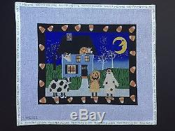 Ewe and Eye Hand-painted Needlepoint Canvas Trick or Treat/Candy Corn Border