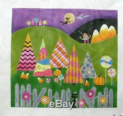 EyeCandy Needleart Halloween Mountainside Handpainted Needlepoint Canvas
