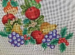 FRUIT & HOLLY LEAVES CHRISTMAS STOCKING Handpainted Needlepoint Canvas PRINCELY