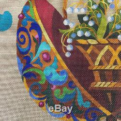 Faberge Egg Needlepoint Canvas Hand Painted Lillian Chermor Lily of the Valley