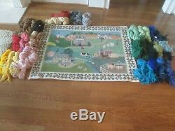 Farm/town Wall Hanging/rug-handpainted Needlepoint Canvas-threads