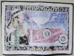 Flapper Art Deco Girl Smoking Vintage Car Needlepoint Canvas 13 ct Hand Painted