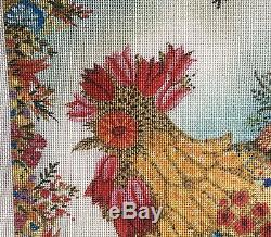 Floral Rooster by J Johannsen for Melissa Shirley Handpainted Needlepoint Canvas