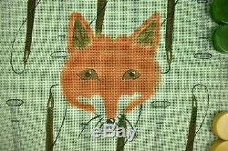 Fox & Hound Needlepoint Backgammon Hand-Painted Canvas with Bakelite Chips & Cube