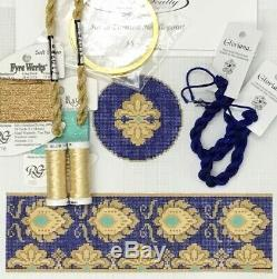 Funda Scully hand painted needlepoint KIT canvas gold leaves cobalt hinge box