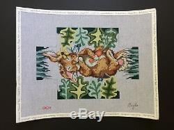 Gayla Hand-painted Needlepoint Canvas Brick Cover/Bunny Rabbit Holding Carrot