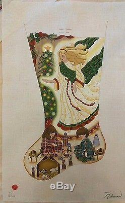 Guardian Angel Rebecca Wood Christmas Stocking Hand Painted Needlepoint Canvas