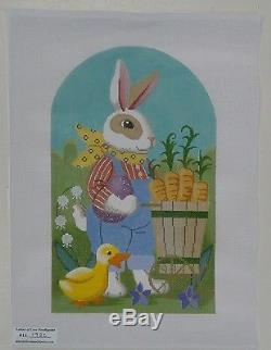 HANDPAINTED NEEDLEPOINT CANVAS Rabbit and Chick by LABORS OF LOVE