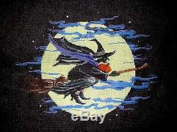 Halloween Flying Witch on Broom in Moon HP Handpainted Needlepoint Canvas GJ