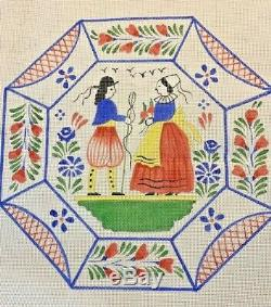 Hand Painted Needlepoint Canvas 13CT LARGE ORIENTAL FRENCH QUIMPER PLATTER