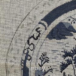Hand Painted Needlepoint Canvas 14 Ct LG BLUE WHITE Willow ORIENTAL anc inc P97w