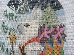 Hand Painted Needlepoint Canvas Kit Winter Hare B243D Brenda Stofft 18 Mesh