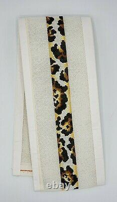 Hand Painted Needlepoint Canvas LEOPARD PRINT STRAP / BELT by Danae 18 CT