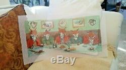 Hand Painted Needlepoint Canvas Mr. Foxs BreakfastChristmas 10 x 21 X LARGE
