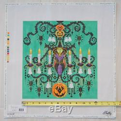 Hand Painted Needlepoint Canvas Signed By Shelly Halloween Chandelier H227