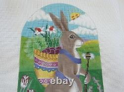 Hand Painted Needlepoint Canvas Spring Hare B243A Brenda Stofft 18 Mesh