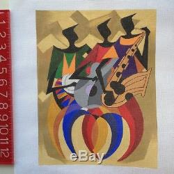 Hand painted Needlepoint Canvas Julie Mar Jazz Band Trio Music cubism modern