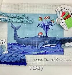Hand painted Needlepoint Canvas Scott Church KIT xmas Whale Santa blowing gifts