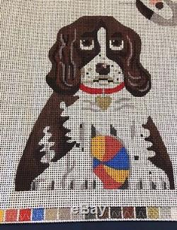 Hand painted Needlepoint Canvas- Spaniel dog, two sided with bottom panel