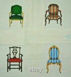 Hand-painted Needlepoint, Four Antique Chairs (set of 4 canvases), 18 mesh, NEW