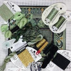 Hand painted Needlepoint KIT art Nouveau square Green gold Mindy canvas threads